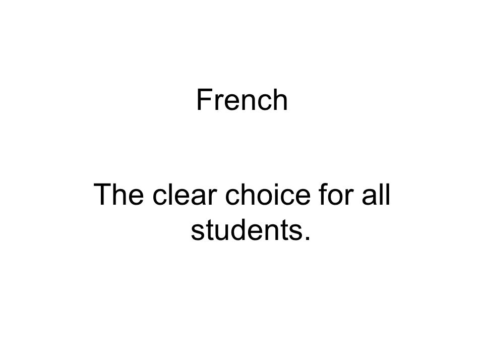 References http://www.theworldspeaksfrench.org/ http://www.fll.vt.edu/French/whyfrench.html http://faculty.kutztown.edu/dewey/why_french.htm Videos: http://www2.ignatius.edu/faculty/turner/french/videos/videos.htm http://www2.ignatius.edu/faculty/turner/french/videos/videos.htm