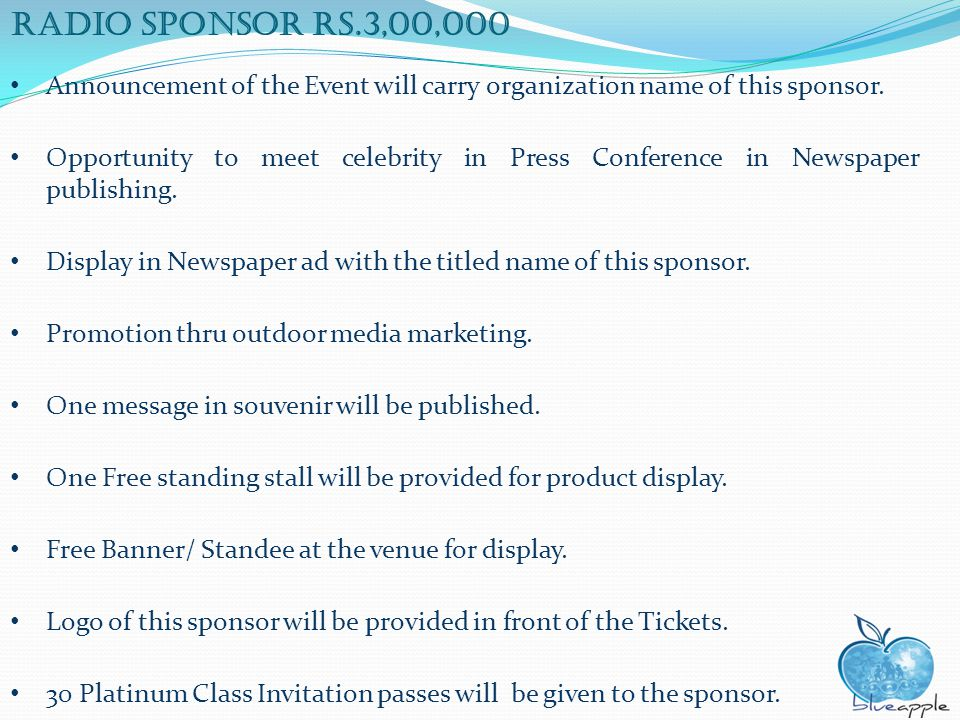 Radio sponsor rs.3,00,000 Announcement of the Event will carry organization name of this sponsor. Opportunity to meet celebrity in Press Conference in
