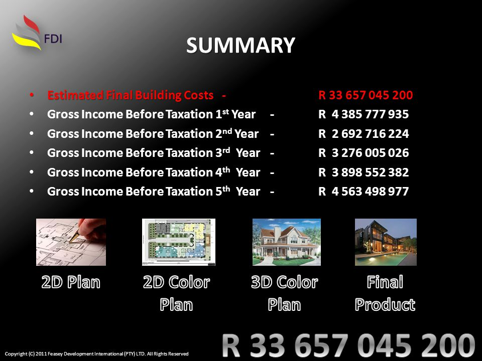 SUMMARY Estimated Final Building Costs-R 33 657 045 200 Estimated Final Building Costs-R 33 657 045 200 Gross Income Before Taxation 1 st Year-R 4 385 777 935 Gross Income Before Taxation 2 nd Year-R 2 692 716 224 Gross Income Before Taxation 3 rd Year-R 3 276 005 026 Gross Income Before Taxation 4 th Year-R 3 898 552 382 Gross Income Before Taxation 5 th Year-R 4 563 498 977 Copyright (C) 2011 Feasey Development International (PTY) LTD.