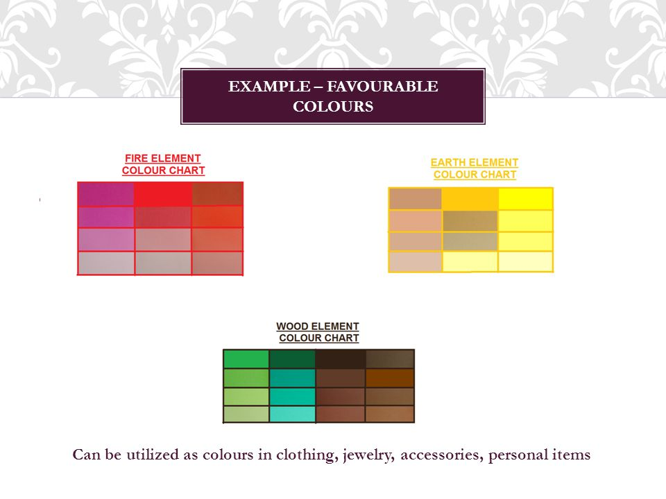 EXAMPLE – FAVOURABLE COLOURS Can be utilized as colours in clothing, jewelry, accessories, personal items