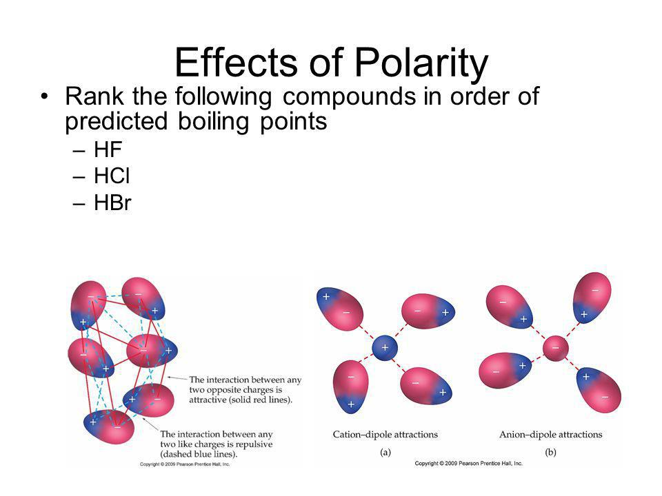 Effects of Polarity Rank the following compounds in order of predicted boiling points –HF –HCl –HBr