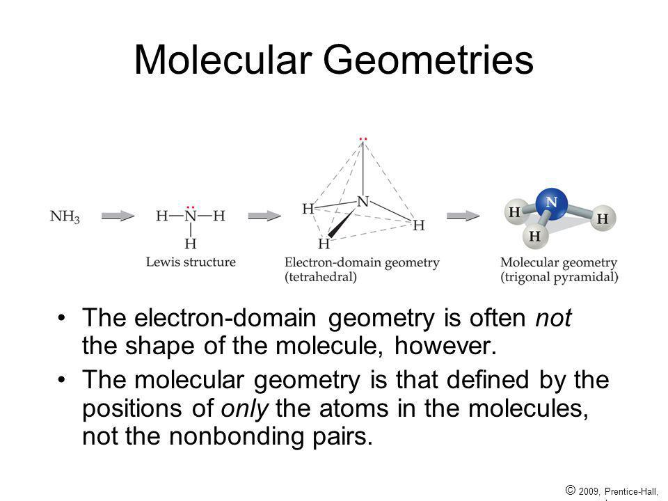© 2009, Prentice-Hall, Inc. Molecular Geometries The electron-domain geometry is often not the shape of the molecule, however. The molecular geometry