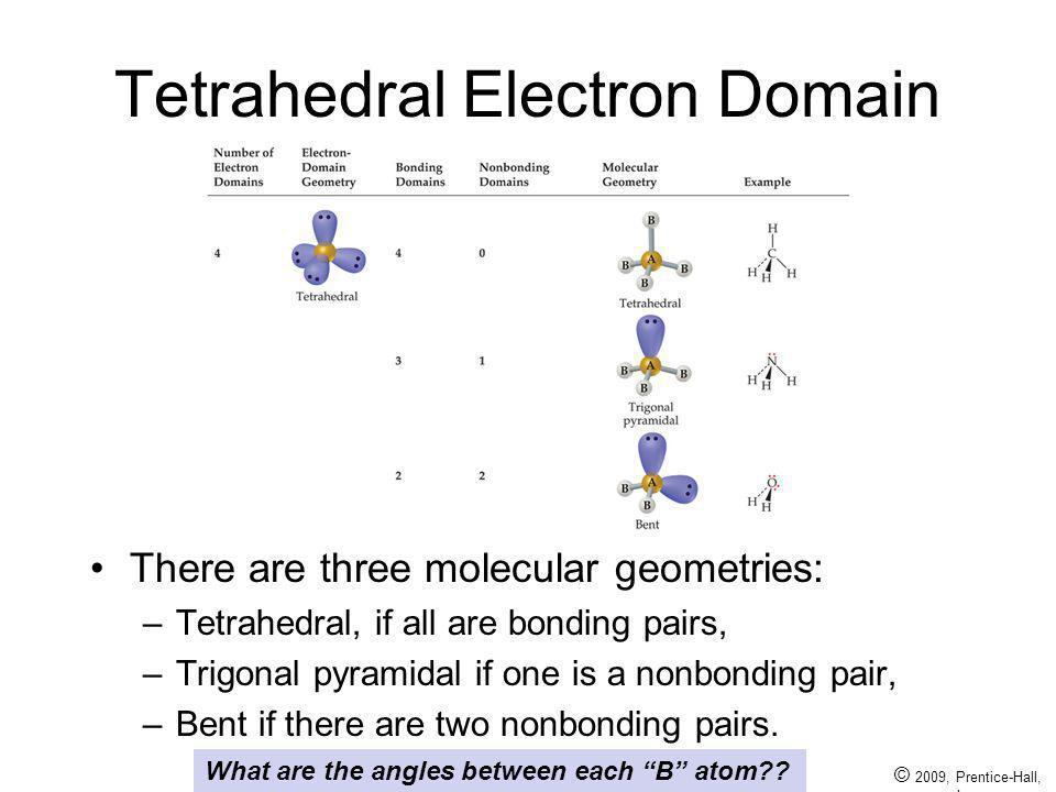© 2009, Prentice-Hall, Inc. Tetrahedral Electron Domain There are three molecular geometries: –Tetrahedral, if all are bonding pairs, –Trigonal pyrami