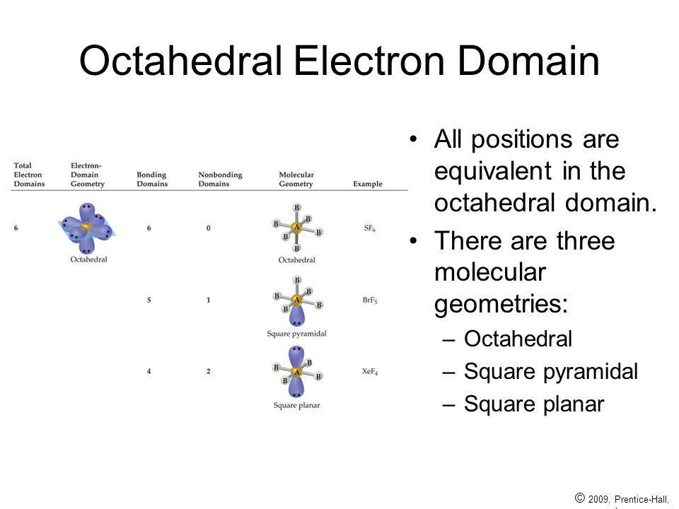© 2009, Prentice-Hall, Inc. Octahedral Electron Domain All positions are equivalent in the octahedral domain. There are three molecular geometries: –O