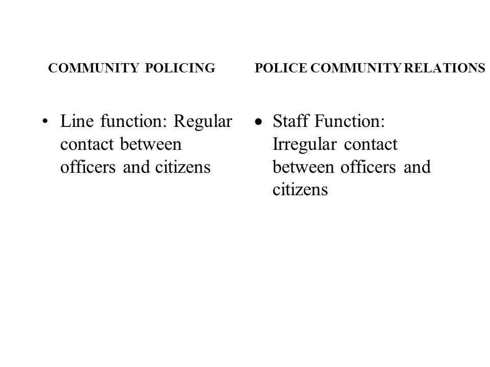 COMMUNITY POLICING POLICE COMMUNITY RELATIONS Line function: Regular contact between officers and citizens Staff Function: Irregular contact between o