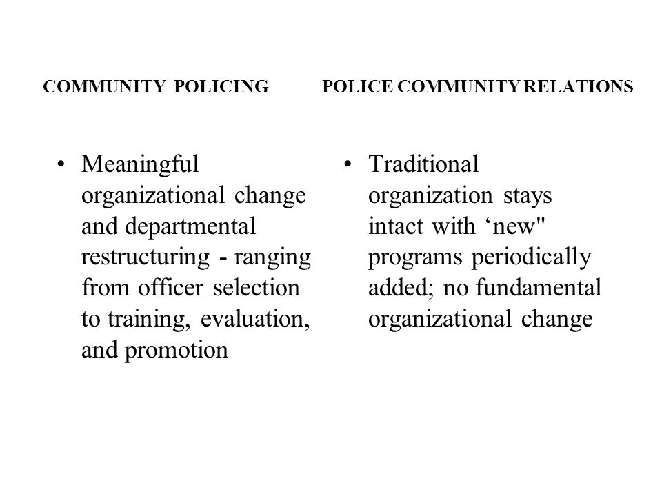COMMUNITY POLICING POLICE COMMUNITY RELATIONS Meaningful organizational change and departmental restructuring - ranging from officer selection to trai