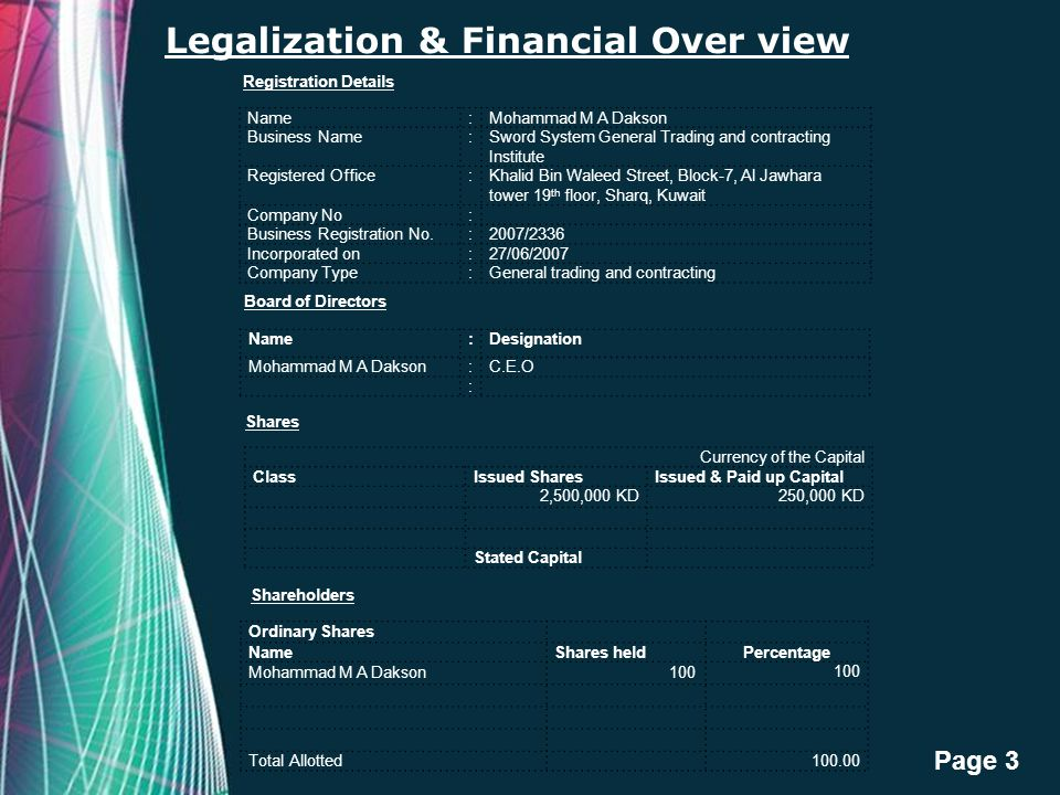 Free Powerpoint Templates Page 3 Legalization & Financial Over view Name:Mohammad M A Dakson Business Name:Sword System General Trading and contractin