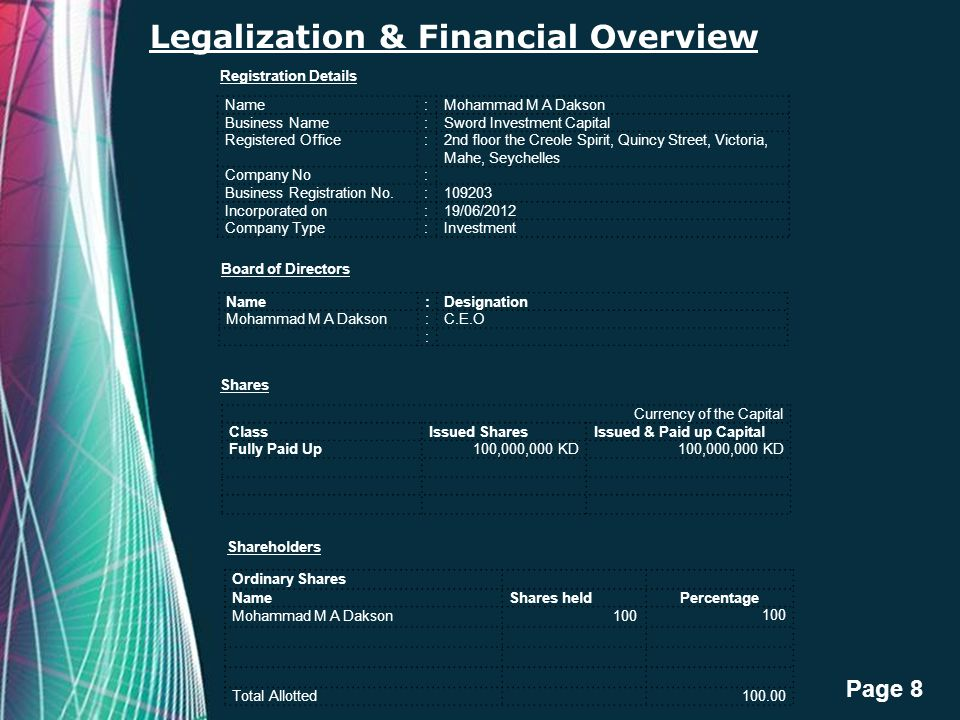 Free Powerpoint Templates Page 8 Legalization & Financial Overview Name:Mohammad M A Dakson Business Name:Sword Investment Capital Registered Office:2
