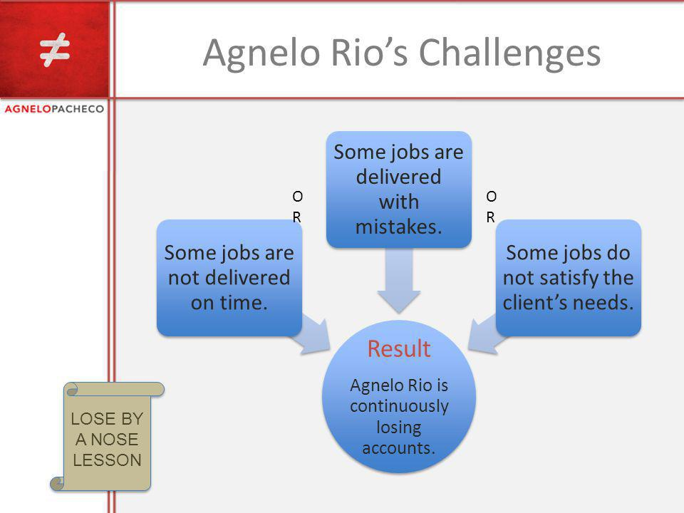 Agnelo Rios Challenges Result Agnelo Rio is continuously losing accounts. Some jobs are not delivered on time. Some jobs are delivered with mistakes.