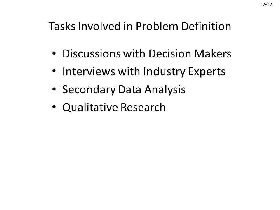 2-12 Tasks Involved in Problem Definition Discussions with Decision Makers Interviews with Industry Experts Secondary Data Analysis Qualitative Research
