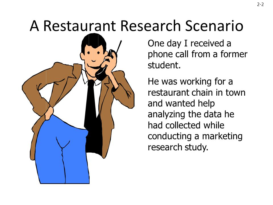 2-3 Chain Restaurant Study When we met, he presented me with a copy of the questionnaire and asked how he should analyze the data.