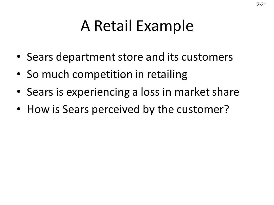 2-21 A Retail Example Sears department store and its customers So much competition in retailing Sears is experiencing a loss in market share How is Sears perceived by the customer