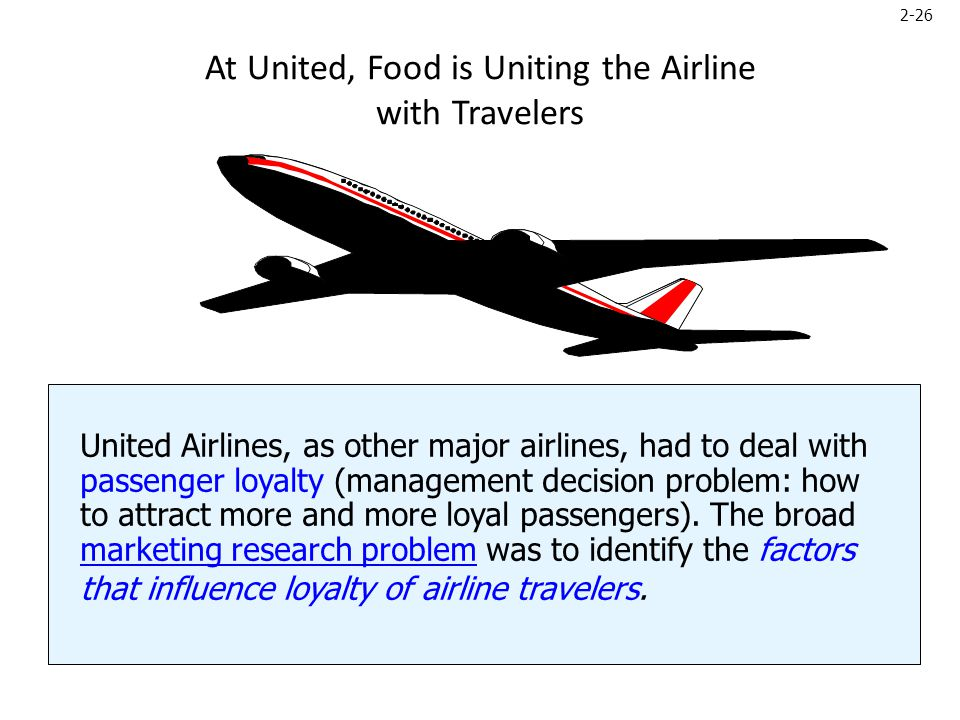 2-26 At United, Food is Uniting the Airline with Travelers United Airlines, as other major airlines, had to deal with passenger loyalty (management decision problem: how to attract more and more loyal passengers).