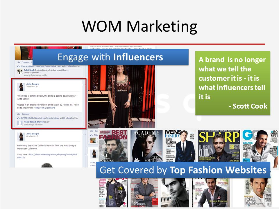 WOM Marketing Engage with Influencers A brand is no longer what we tell the customer it is - it is what influencers tell it is - Scott Cook Get Covered by Top Fashion Websites