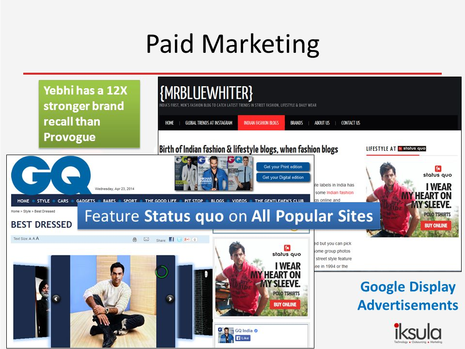 Paid Marketing Google Display Advertisements Feature Status quo on All Popular Sites Yebhi has a 12X stronger brand recall than Provogue