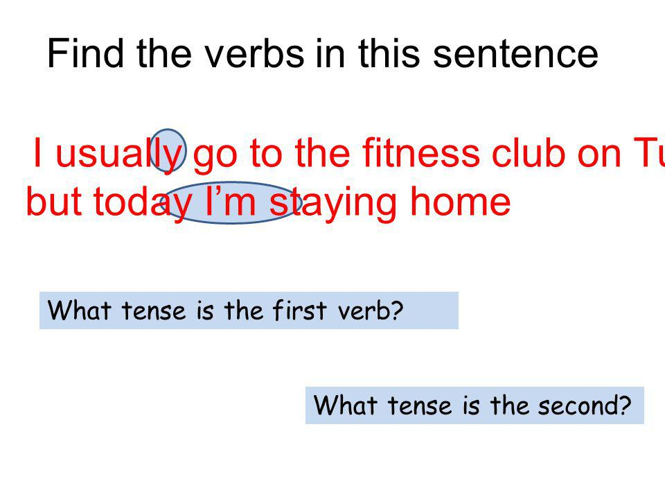 Find the verbs in this sentence I usually go to the fitness club on Tuesdays but today Im staying home What tense is the first verb.