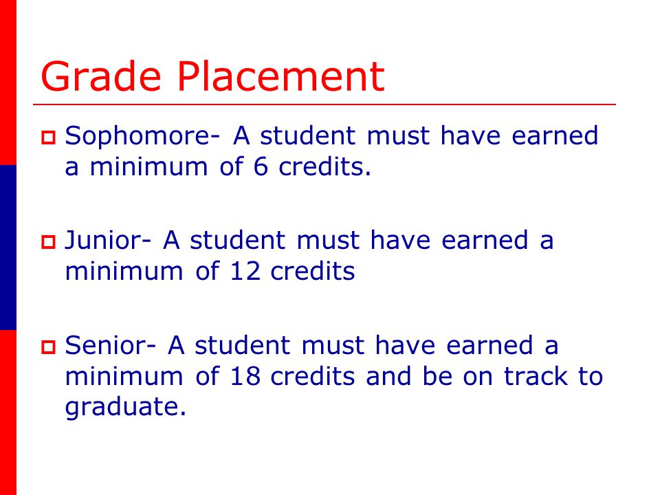 Grade Placement Sophomore- A student must have earned a minimum of 6 credits.