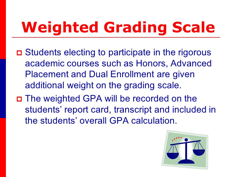 Weighted Grading Scale Students electing to participate in the rigorous academic courses such as Honors, Advanced Placement and Dual Enrollment are given additional weight on the grading scale.