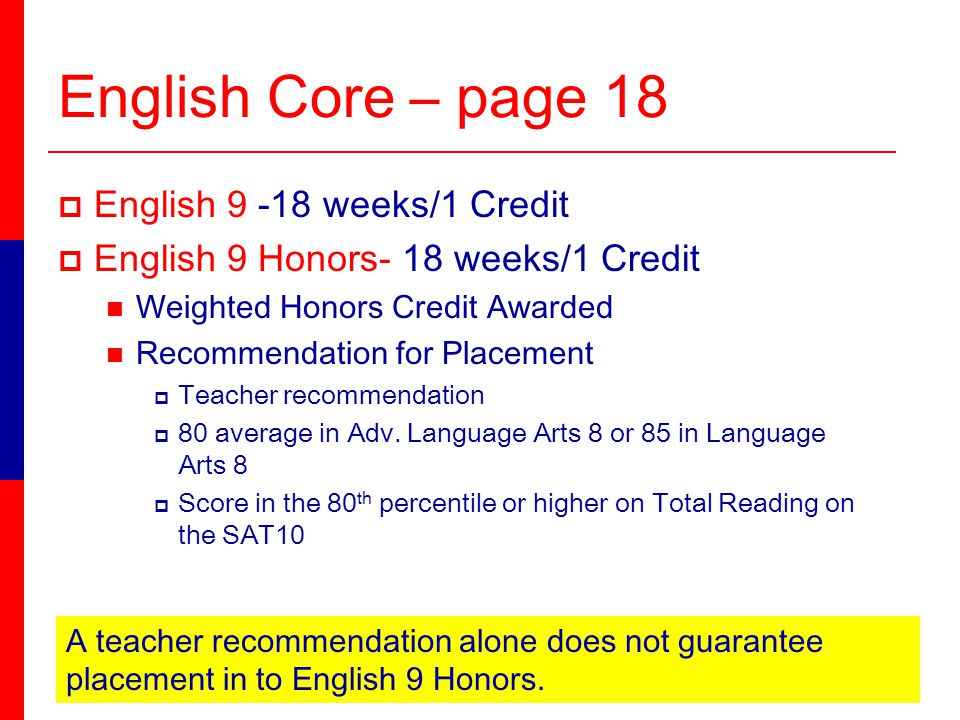 English Core – page 18 English 9 -18 weeks/1 Credit English 9 Honors- 18 weeks/1 Credit Weighted Honors Credit Awarded Recommendation for Placement Teacher recommendation 80 average in Adv.