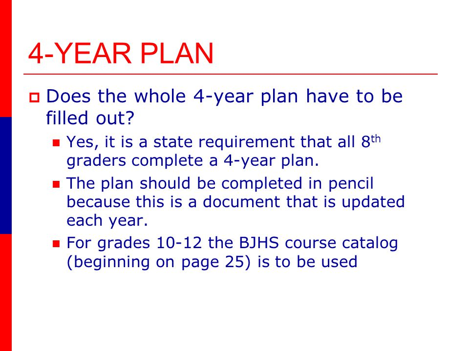 4-YEAR PLAN Does the whole 4-year plan have to be filled out.