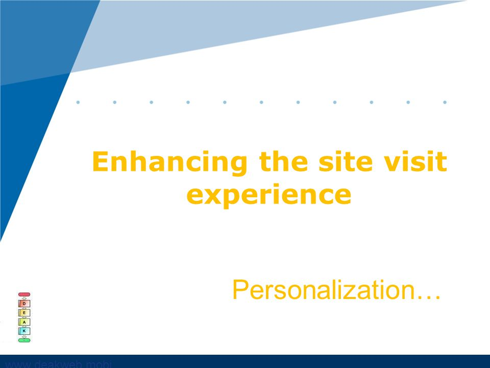 www,deakweb.mobi Enhancing the site visit experience Personalization…