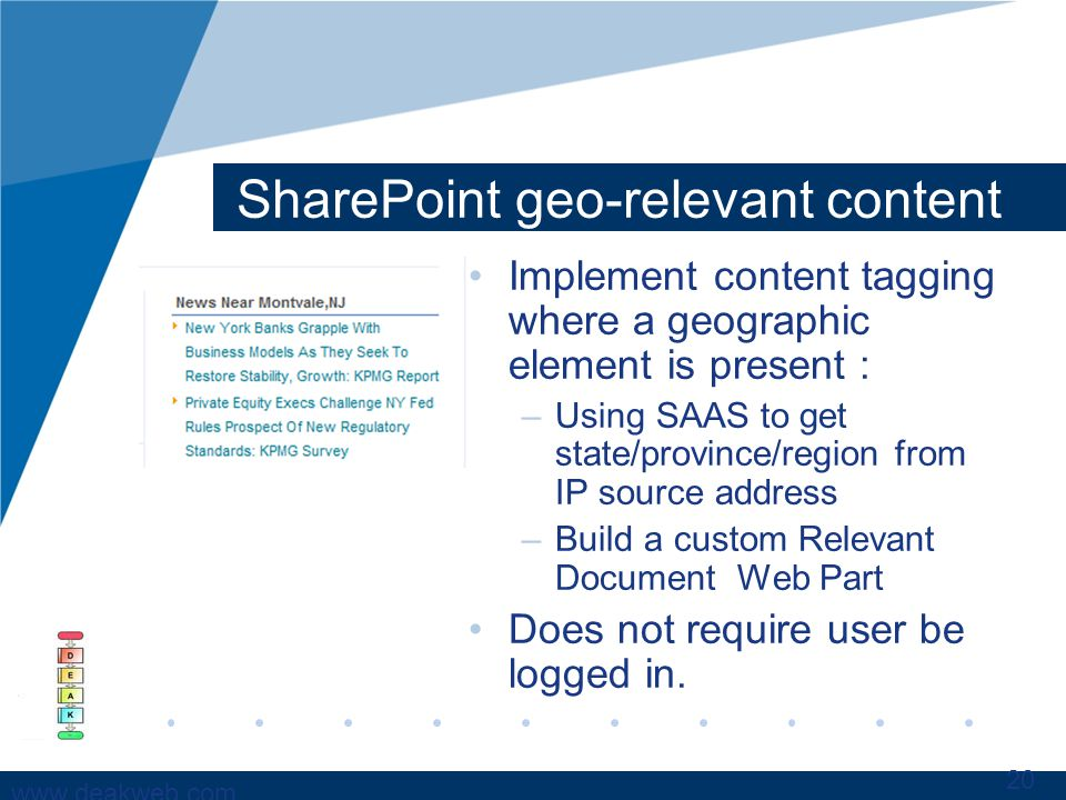 www.deakweb.com SharePoint geo-relevant content Implement content tagging where a geographic element is present : –Using SAAS to get state/province/region from IP source address –Build a custom Relevant Document Web Part Does not require user be logged in.