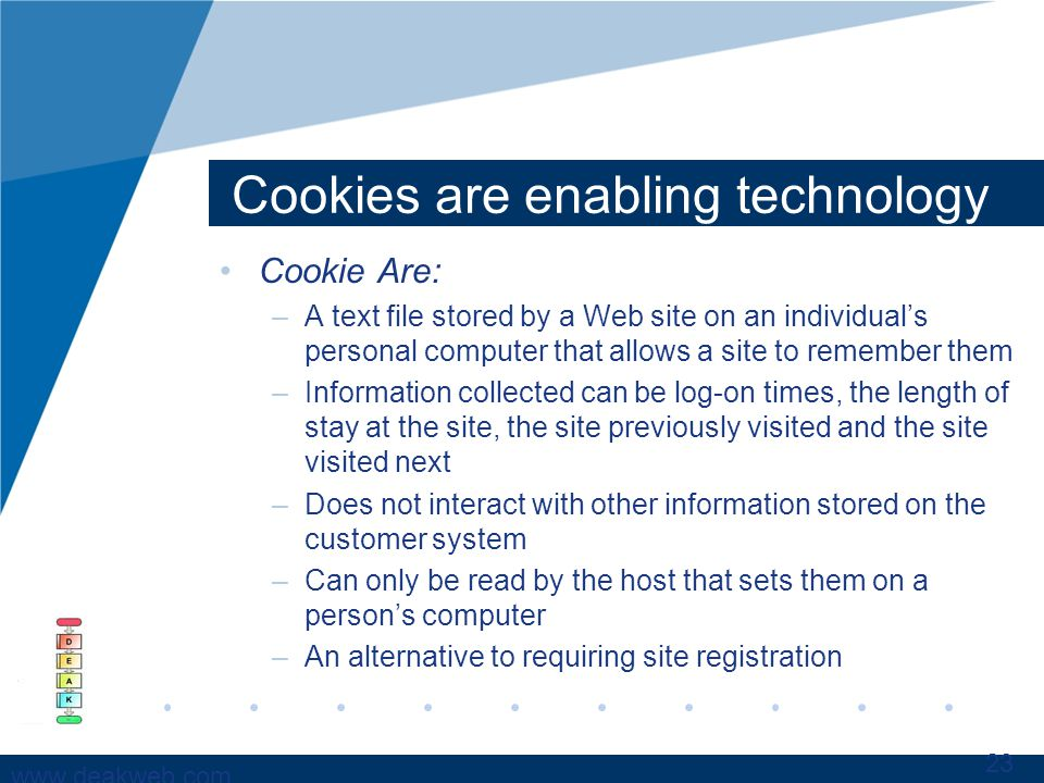 www.deakweb.com Cookies are enabling technology Cookie Are: –A text file stored by a Web site on an individuals personal computer that allows a site to remember them –Information collected can be log-on times, the length of stay at the site, the site previously visited and the site visited next –Does not interact with other information stored on the customer system –Can only be read by the host that sets them on a persons computer –An alternative to requiring site registration 23