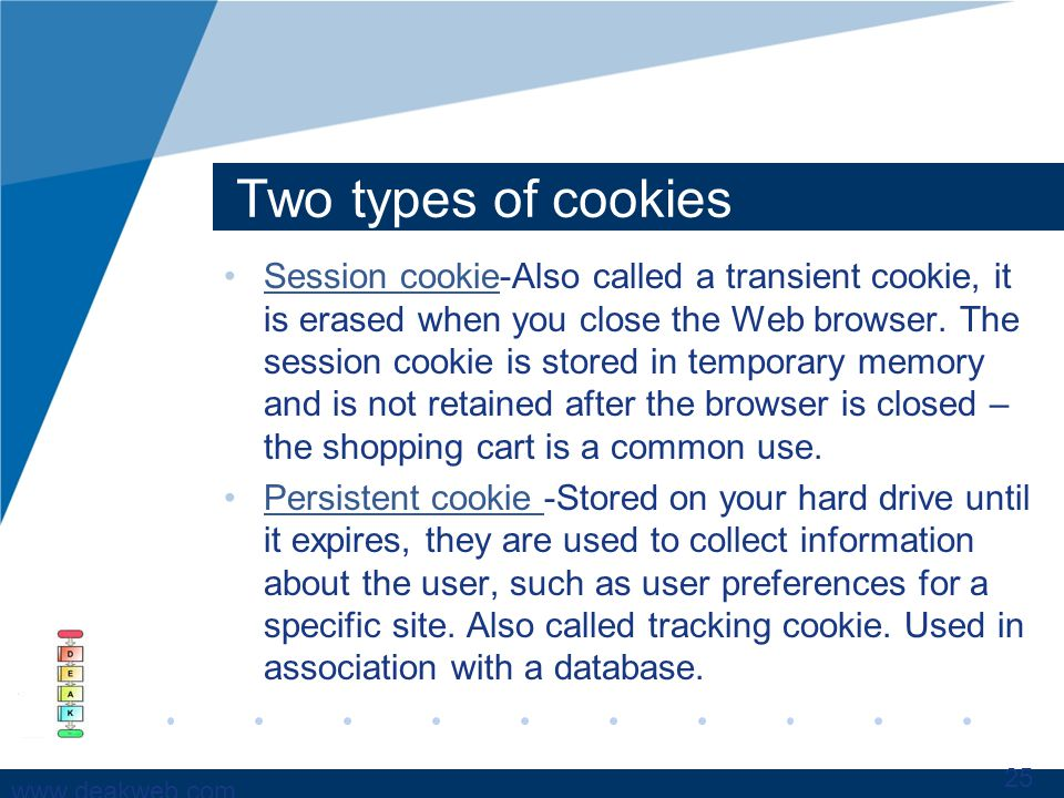 www.deakweb.com Two types of cookies Session cookie-Also called a transient cookie, it is erased when you close the Web browser.