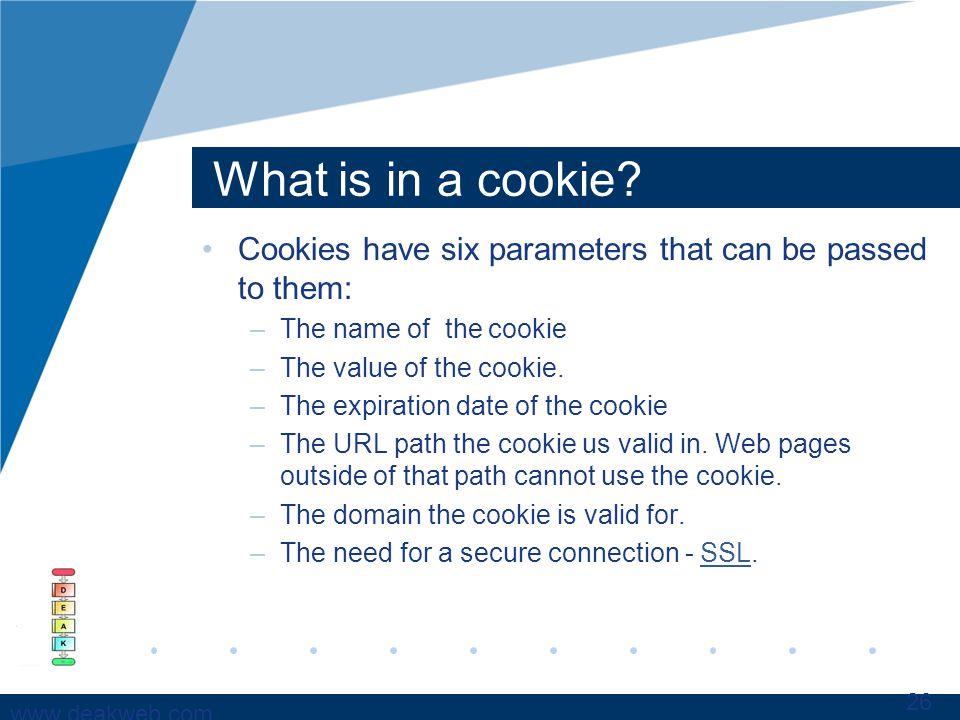 www.deakweb.com What is in a cookie.