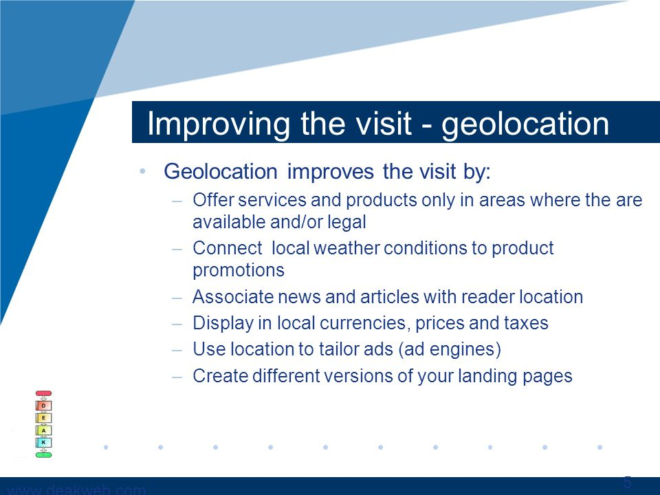 www.deakweb.com Improving the visit - geolocation Geolocation improves the visit by: –Offer services and products only in areas where the are availabl