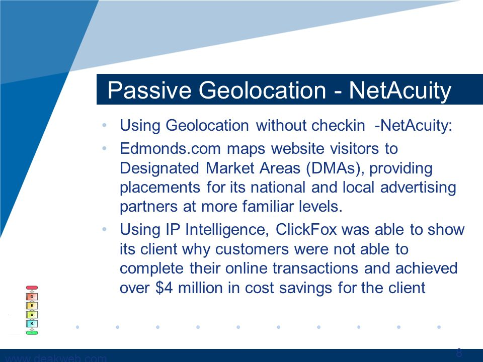 www.deakweb.com Passive Geolocation - NetAcuity Using Geolocation without checkin -NetAcuity: Edmonds.com maps website visitors to Designated Market Areas (DMAs), providing placements for its national and local advertising partners at more familiar levels.