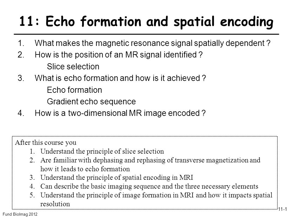 Fund BioImag 2012 11-1 11: Echo formation and spatial encoding 1.What makes the magnetic resonance signal spatially dependent ? 2.How is the position