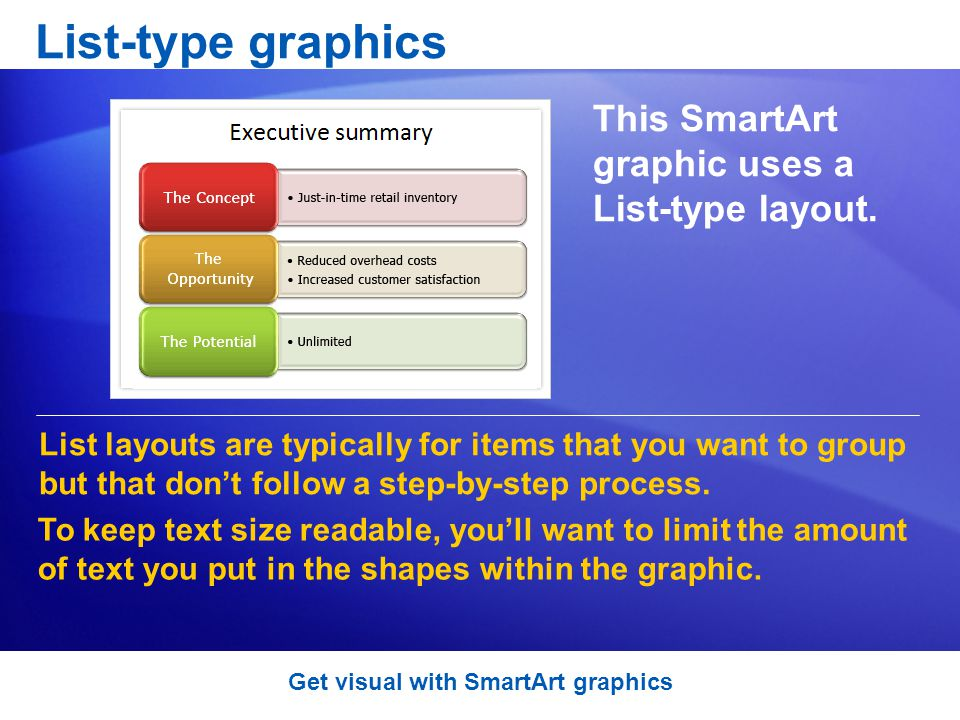 List-type graphics This SmartArt graphic uses a List-type layout.