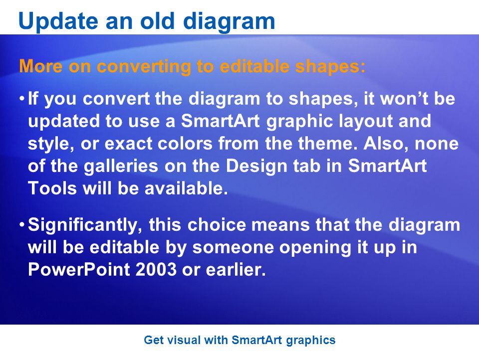 If you convert the diagram to shapes, it wont be updated to use a SmartArt graphic layout and style, or exact colors from the theme.