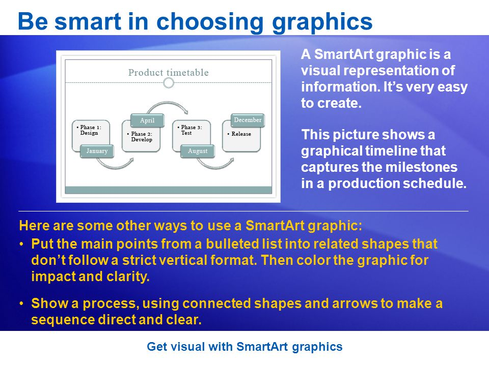 A SmartArt graphic is a visual representation of information.