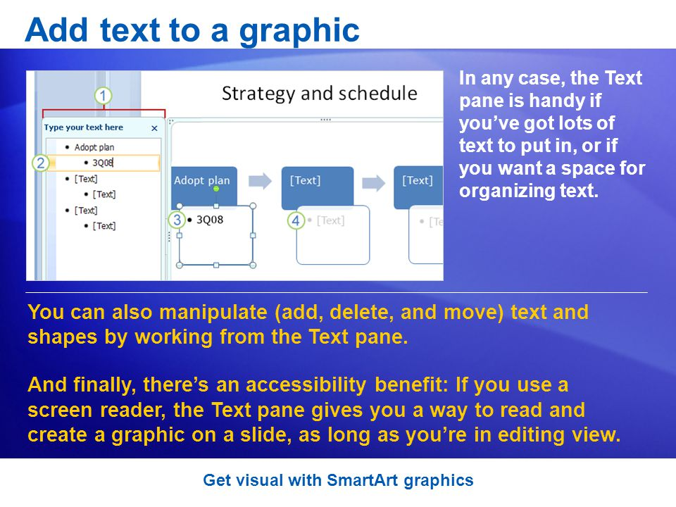 Add text to a graphic In any case, the Text pane is handy if youve got lots of text to put in, or if you want a space for organizing text.