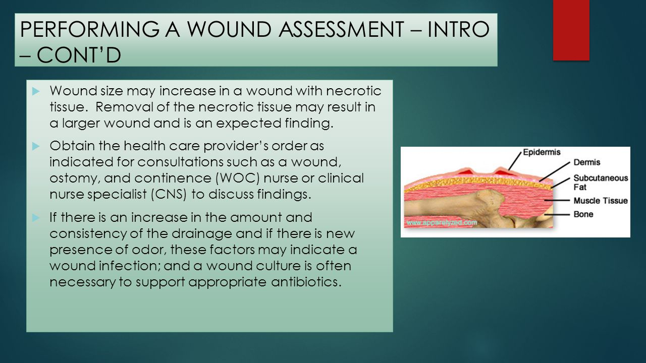 PERFORMING A WOUND ASSESSMENT – INTRO – CONTD The following parameters are included in a wound assessment: Location: Note the anatomic position of the wound on the body.