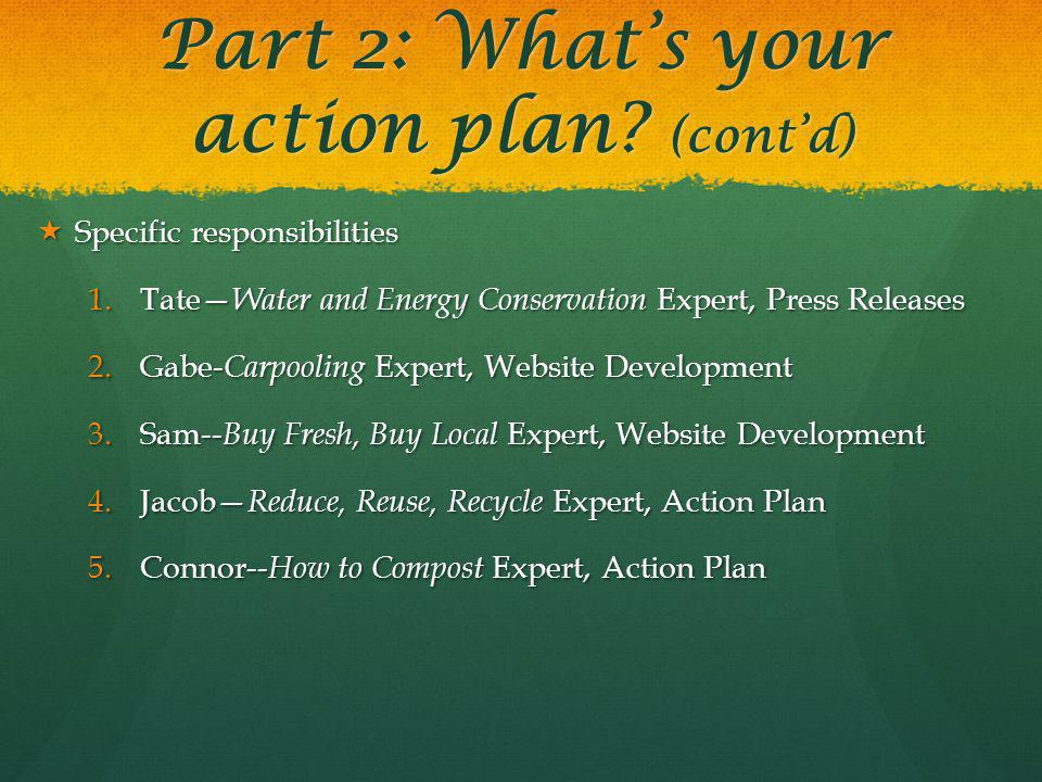 Part 2: Whats your action plan.