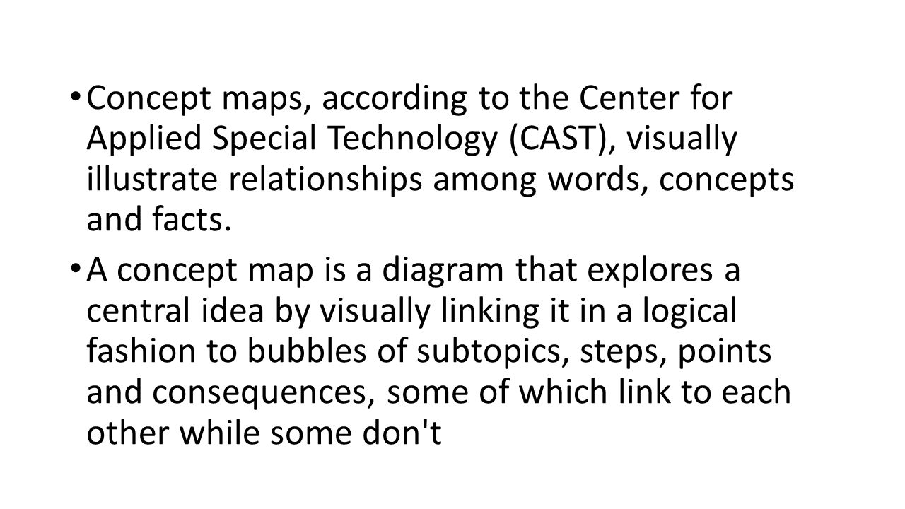 Concept maps, according to the Center for Applied Special Technology (CAST), visually illustrate relationships among words, concepts and facts.
