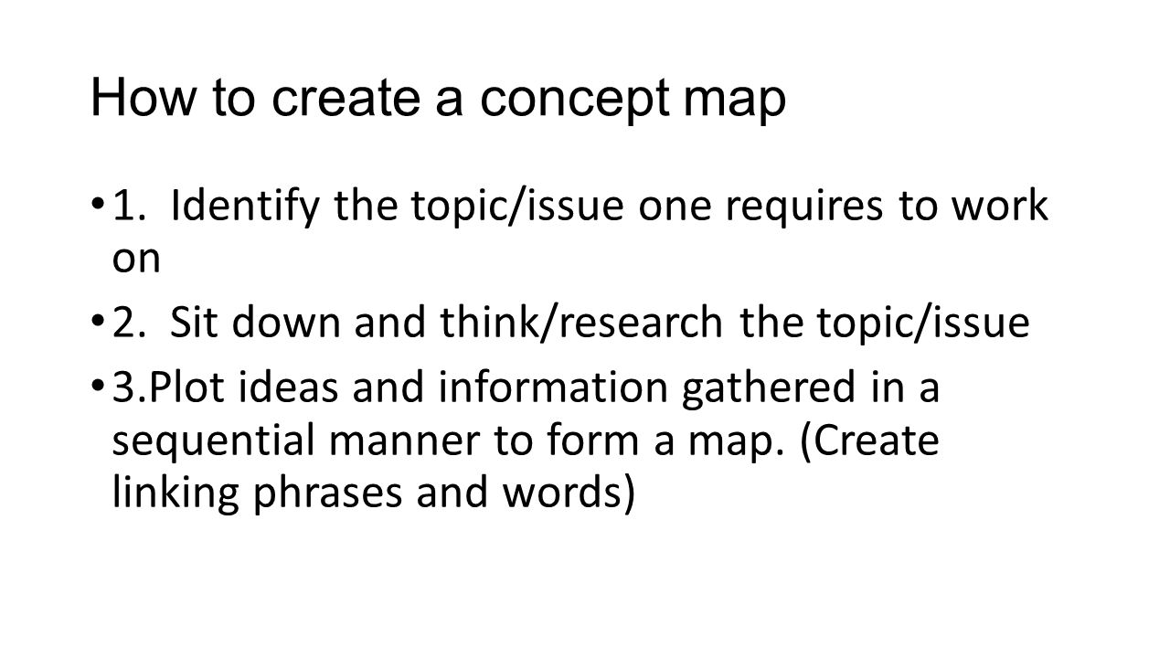 How to create a concept map 1. Identify the topic/issue one requires to work on 2.
