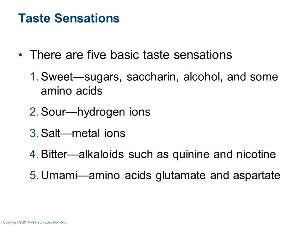 Copyright © 2010 Pearson Education, Inc. Taste Sensations There are five basic taste sensations 1.Sweetsugars, saccharin, alcohol, and some amino acid