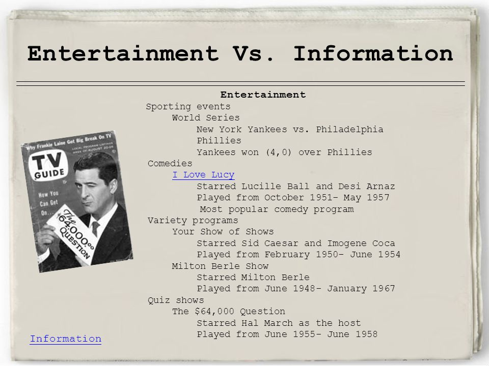 Entertainment Vs. Information Entertainment Sporting events World Series New York Yankees vs.