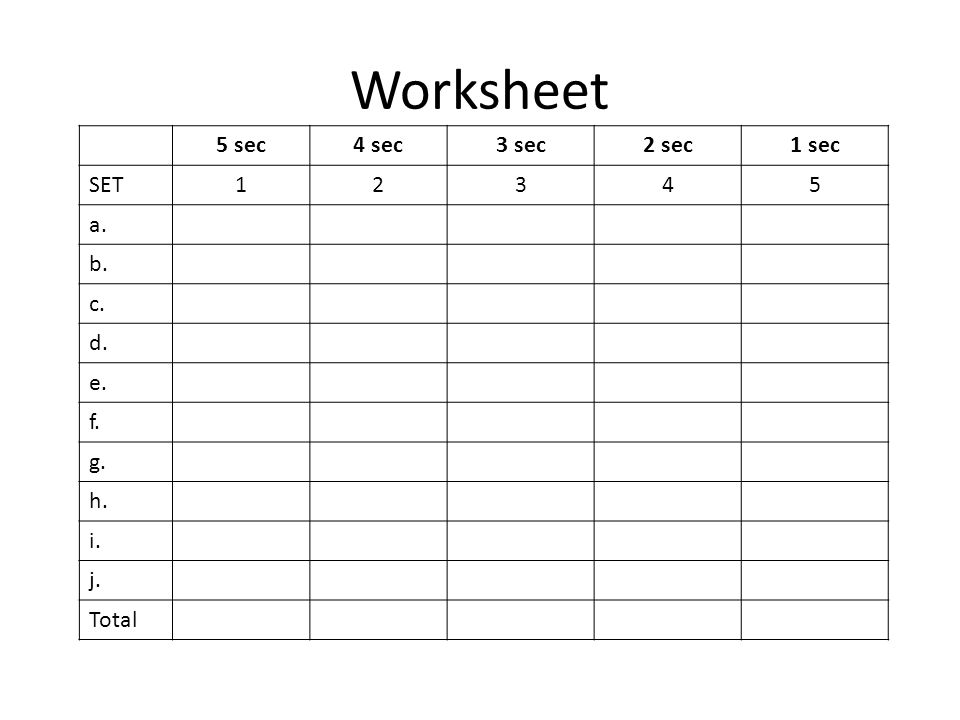 Worksheet 5 sec4 sec3 sec2 sec1 sec SET12345 a. b. c. d. e. f. g. h. i. j. Total