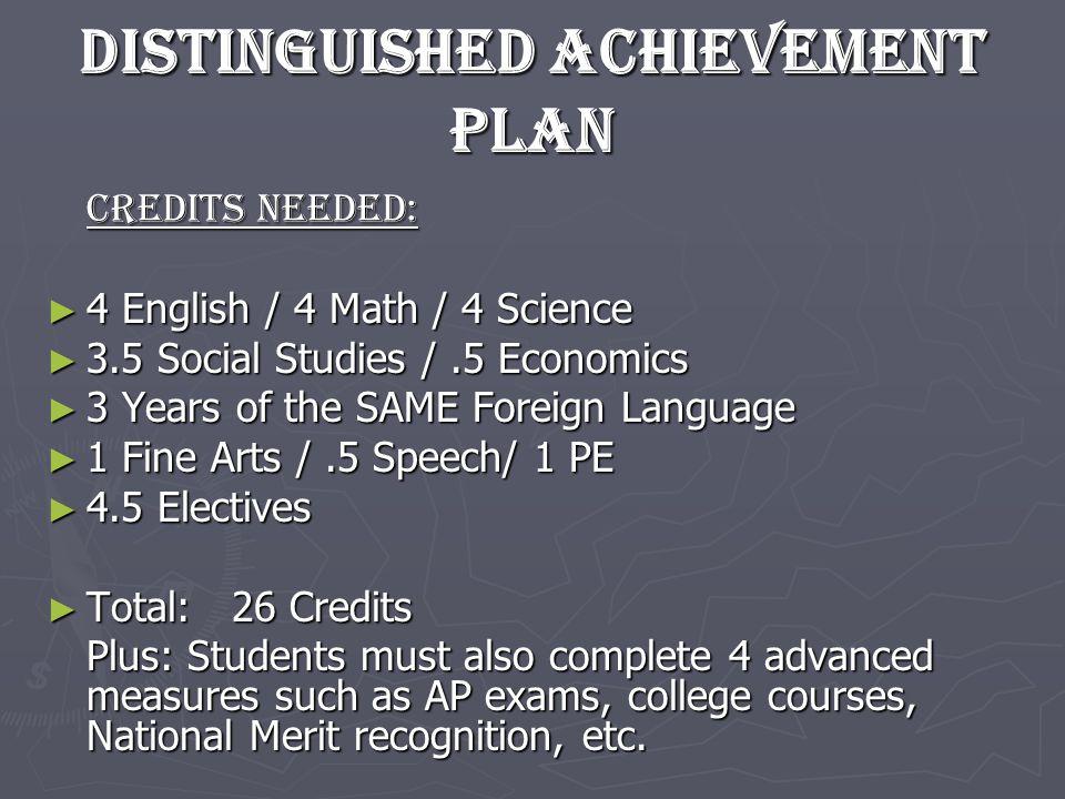 Distinguished Achievement Plan Credits needed: 4 English / 4 Math / 4 Science 4 English / 4 Math / 4 Science 3.5 Social Studies /.5 Economics 3.5 Soci
