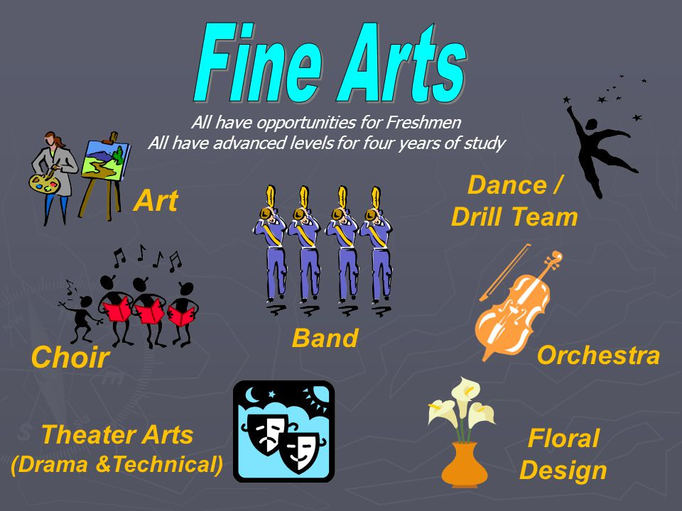 Dance / Drill Team Theater Arts (Drama &Technical) Art Choir Band Floral Design Orchestra All have opportunities for Freshmen All have advanced levels