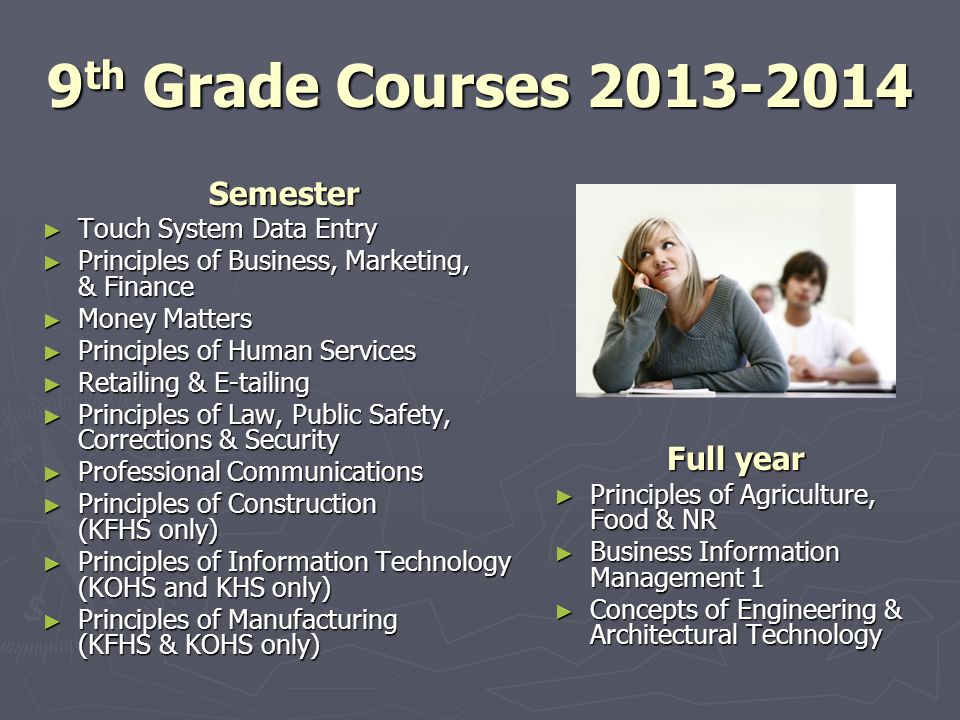 9 th Grade Courses 2013-2014 Semester Touch System Data Entry Touch System Data Entry Principles of Business, Marketing, & Finance Principles of Busin