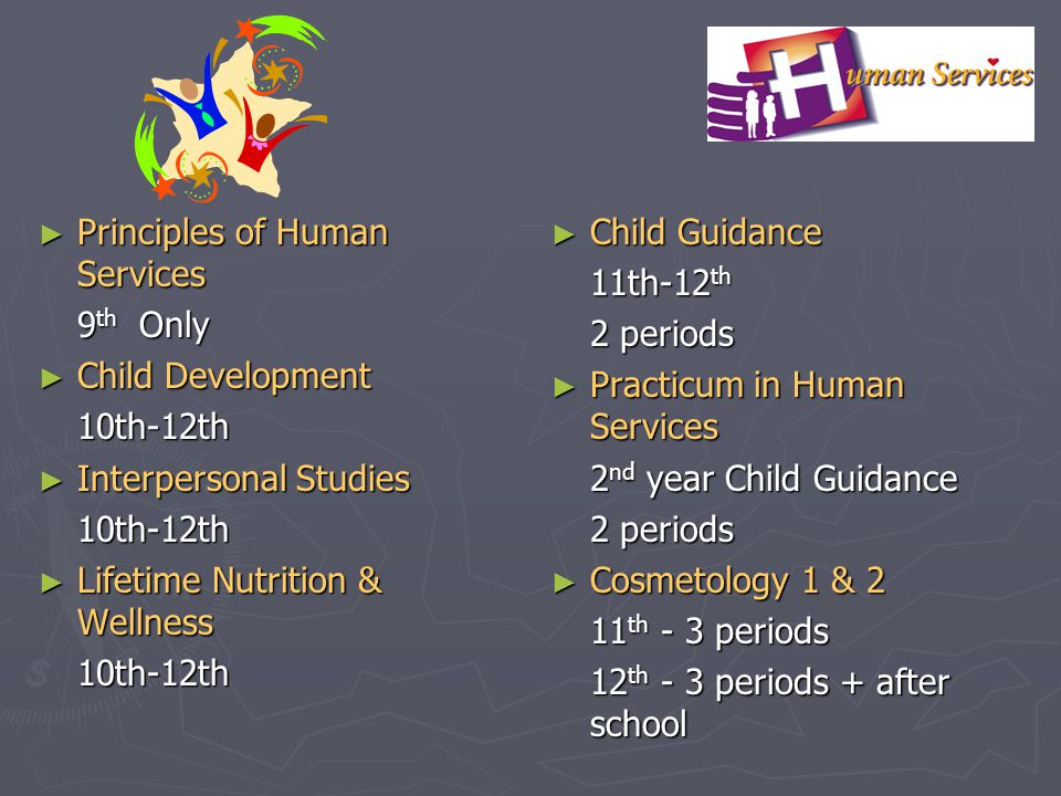 Principles of Human Services Principles of Human Services 9 th Only Child Development Child Development10th-12th Interpersonal Studies Interpersonal S