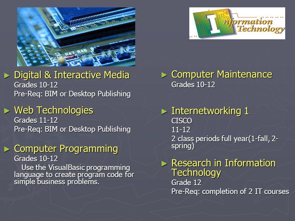 Digital & Interactive Media Digital & Interactive Media Grades 10-12 Pre-Req: BIM or Desktop Publishing Web Technologies Web Technologies Grades 11-12
