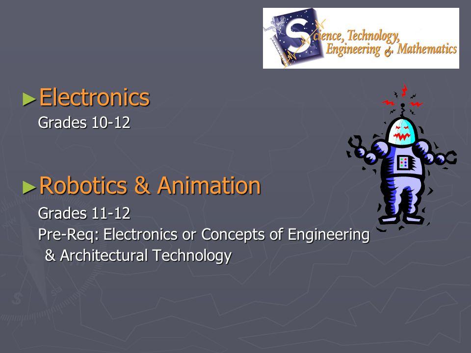 Electronics Electronics Grades 10-12 Robotics & Animation Robotics & Animation Grades 11-12 Pre-Req: Electronics or Concepts of Engineering & Architec