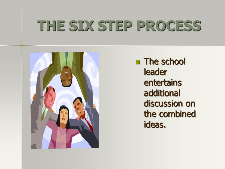 THE SIX STEP PROCESS The school leader entertains additional discussion on the combined ideas. The school leader entertains additional discussion on t